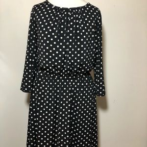 Ann Taylor long sleeve dress polka dot stretch M